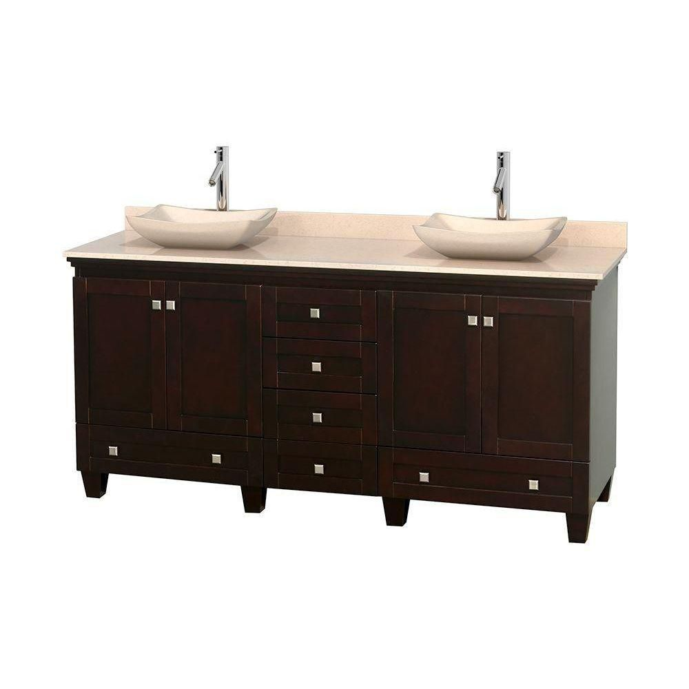 Wyndham Collection Acclaim 72-inch W 6-Drawer 4-Door Vanity in Brown With Marble Top in Beige Tan, Double Basins