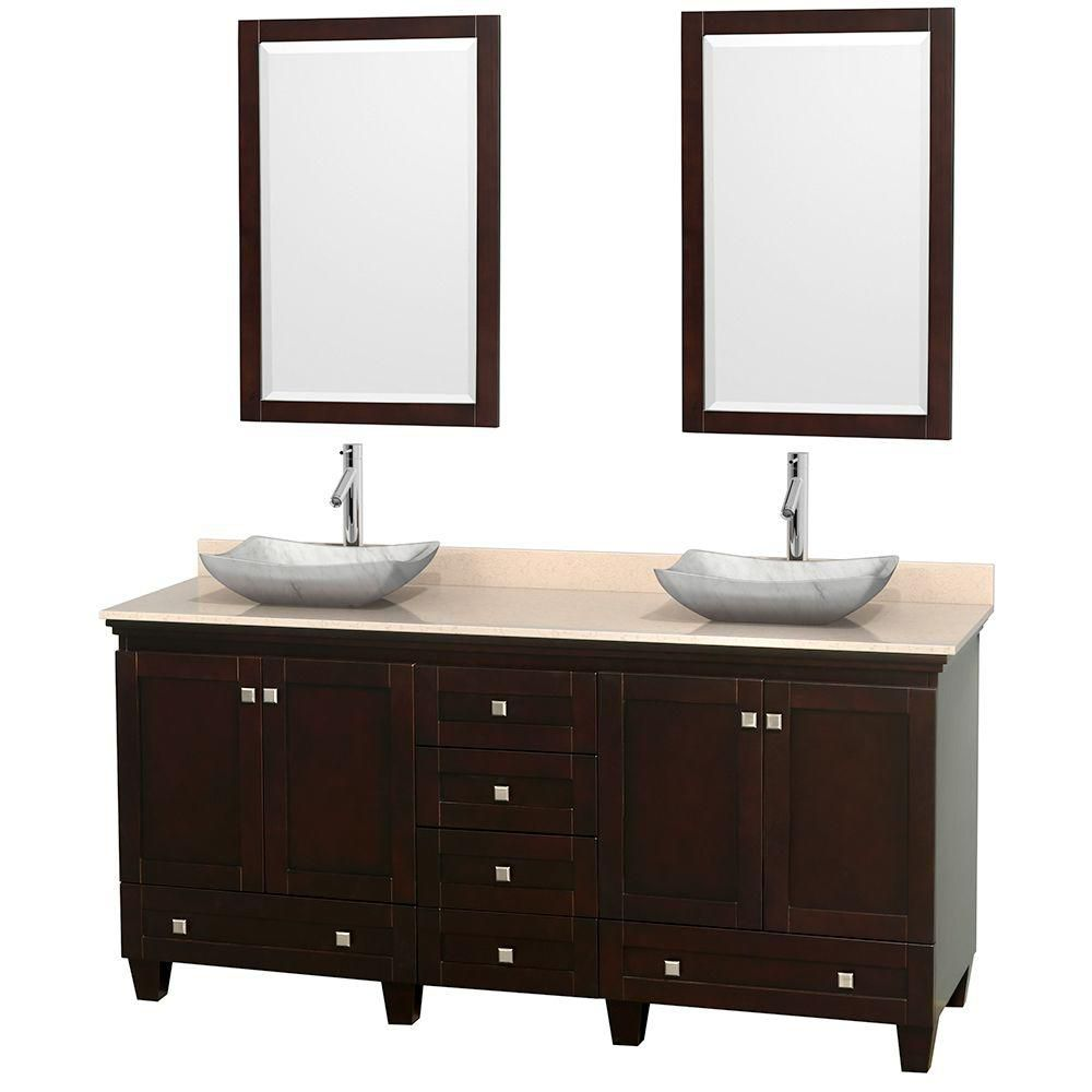 Acclaim 72-inch W Double Vanity in Espresso with Marble Top in Ivory with White Basins and Mirror...