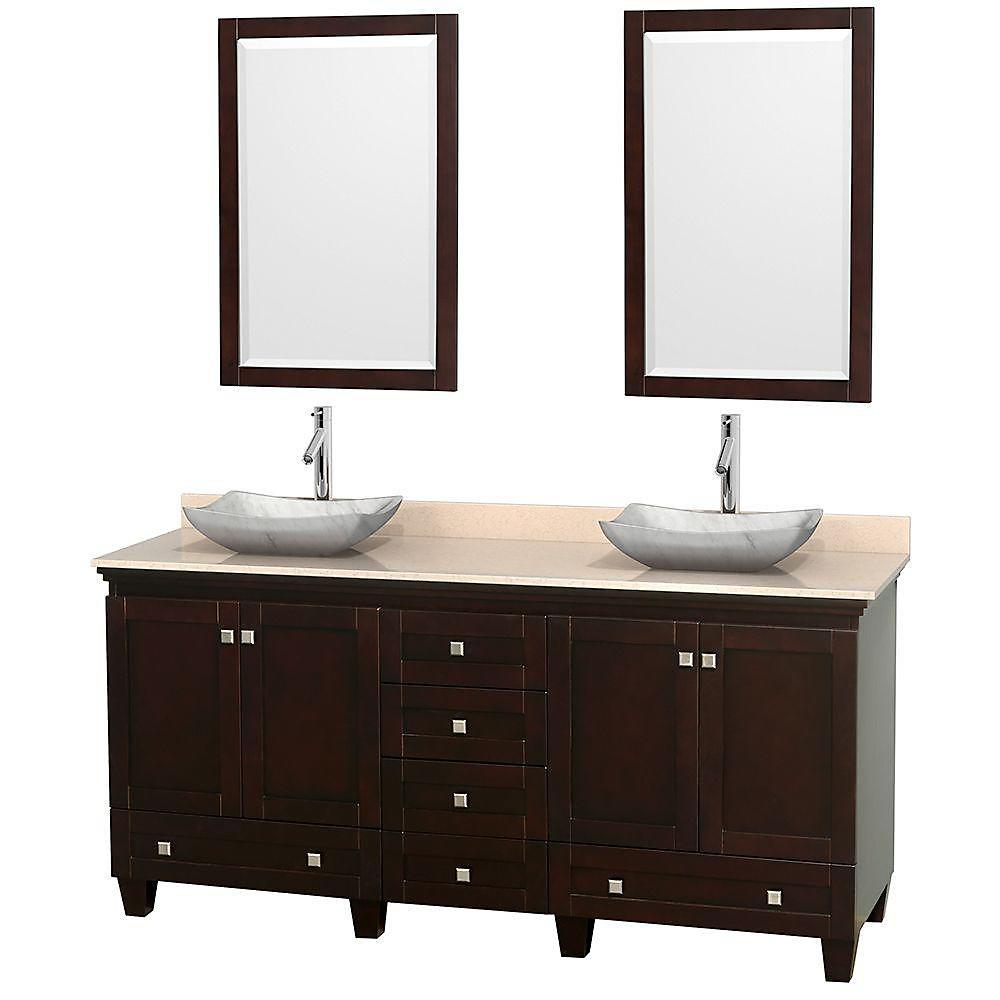 Acclaim 72 po Meuble dbl. espresso et revêtement ivoire, éviers Carrare blanc et miroirs