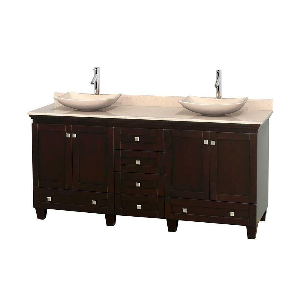 Acclaim 72-inch W Double Vanity in Espresso with Marble Top in Ivory with Ivory Basins