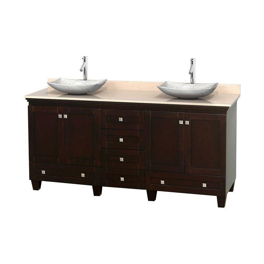 Acclaim 72 po Meuble dbl. espresso et revêtement ivoire, éviers Carrare blanc et sans miroir
