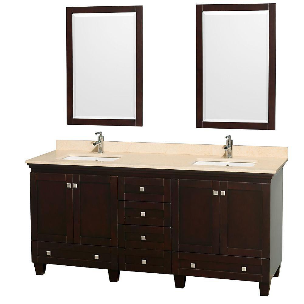 Acclaim 72 po Meuble double espresso avec revêtement ivoire, éviers carrés et miroirs