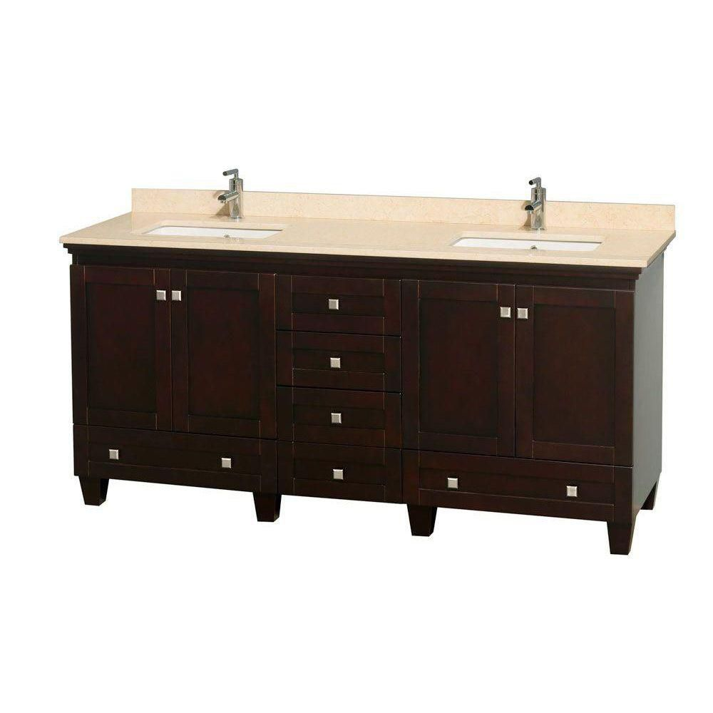 Acclaim 72-inch W Double Vanity in Espresso with Marble Top in Ivory with Square Basins