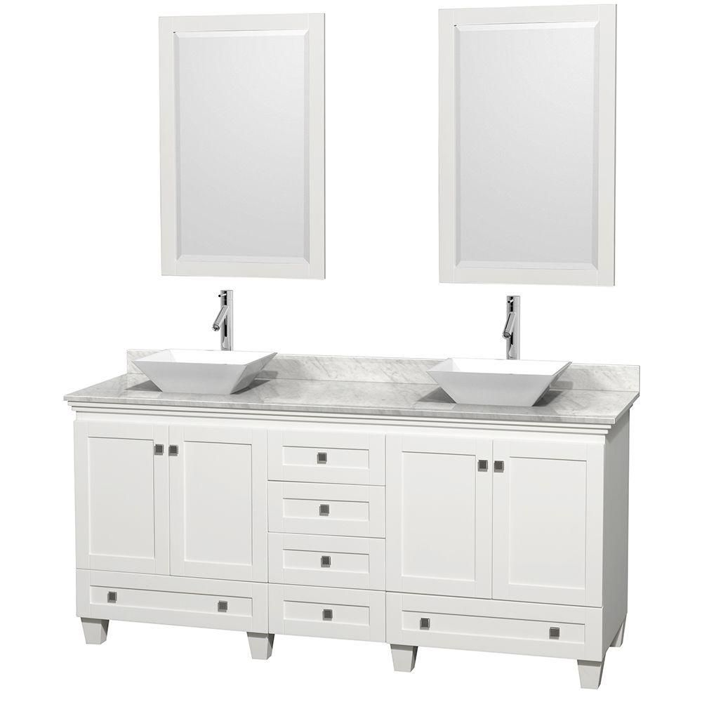 Acclaim 72-inch W Double Vanity in White with White Top with White Basins and Mirrors