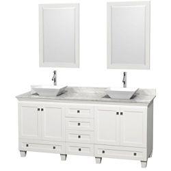 Wyndham Collection Acclaim 72 po Meuble blanc double avec revêtement blanc Carrare, éviers blancs et miroirs
