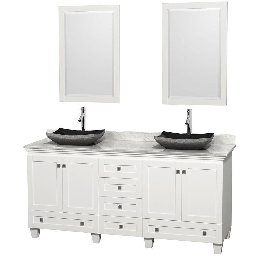 Acclaim 72 po Meuble blanc double avec revêtement blanc Carrare, éviers noirs et miroirs