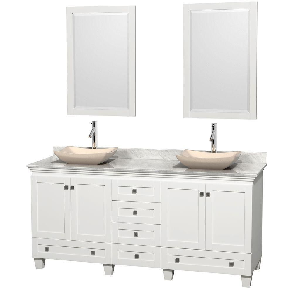 Acclaim 72-inch W Double Vanity in White with White Top with Ivory Basins and Mirrors