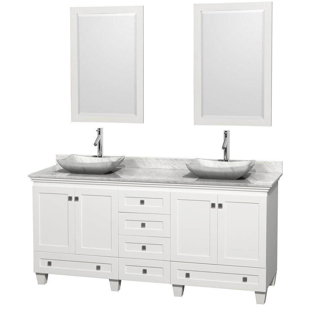 Acclaim 72 po Meuble blanc dbl. et revêtement blanc Carrare, éviers Carrare blanc et miroirs