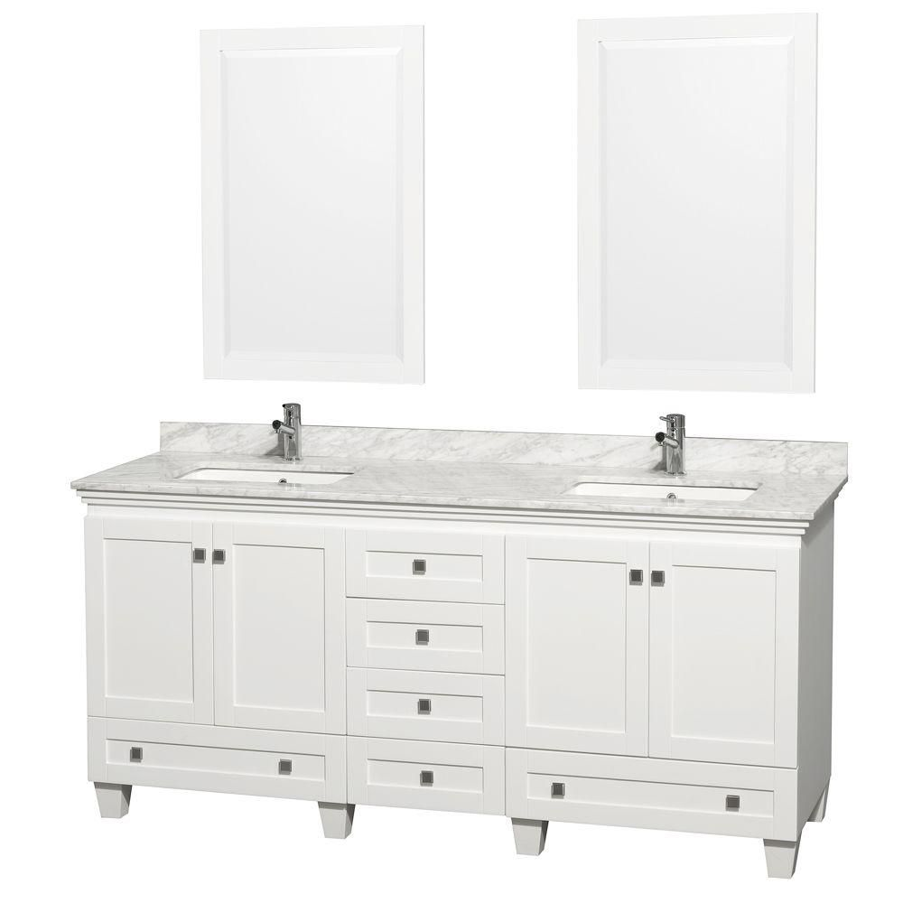 Acclaim 72-inch W 6-Drawer 4-Door Vanity in White With Marble Top in White, 2 Basins With Mirror