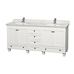 Wyndham Collection Acclaim 72-inch W Double Vanity in White with Top in Carrara White and Square Sinks