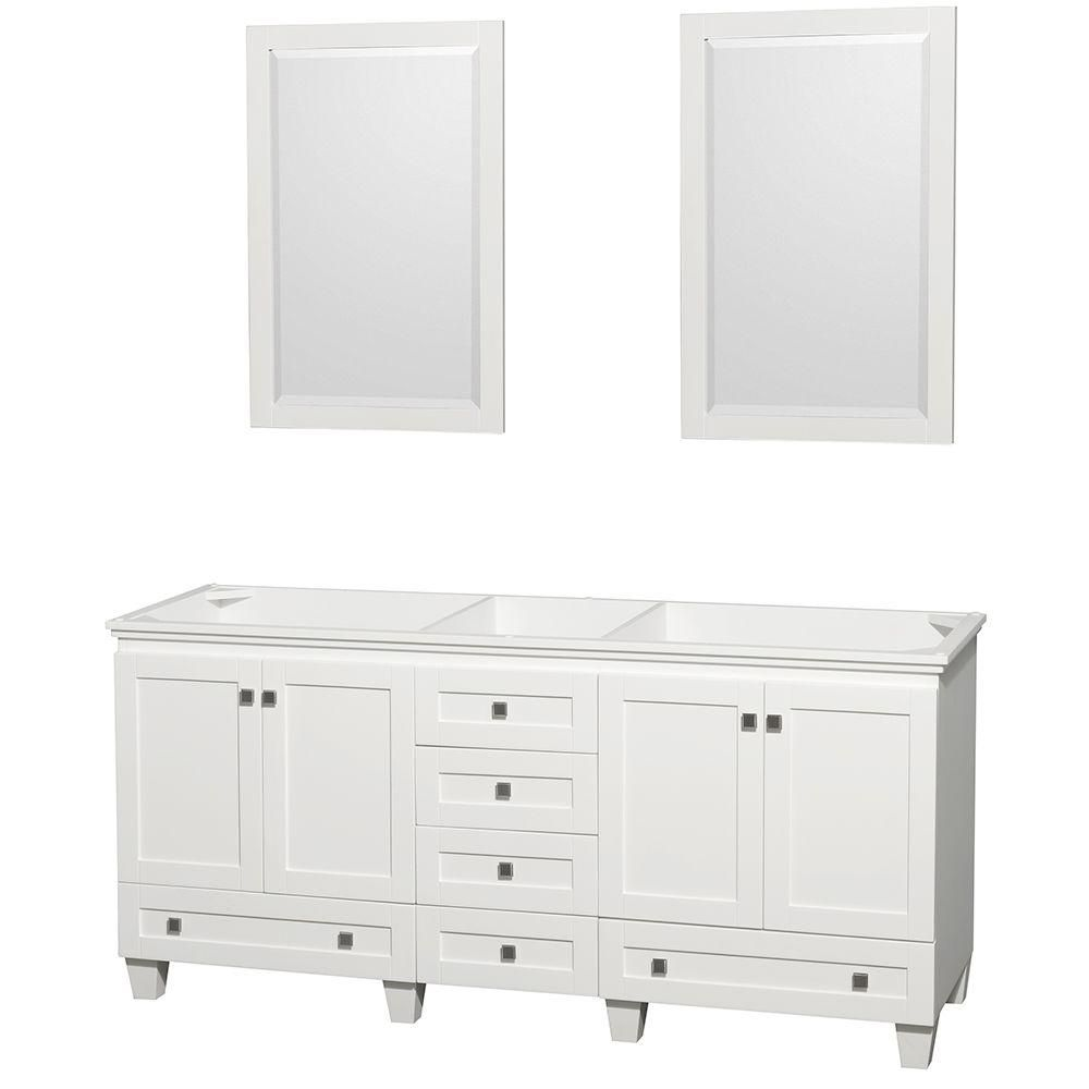Wyndham Collection Acclaim 72-inch W 6-Drawer 4-Door Vanity in White With Mirror