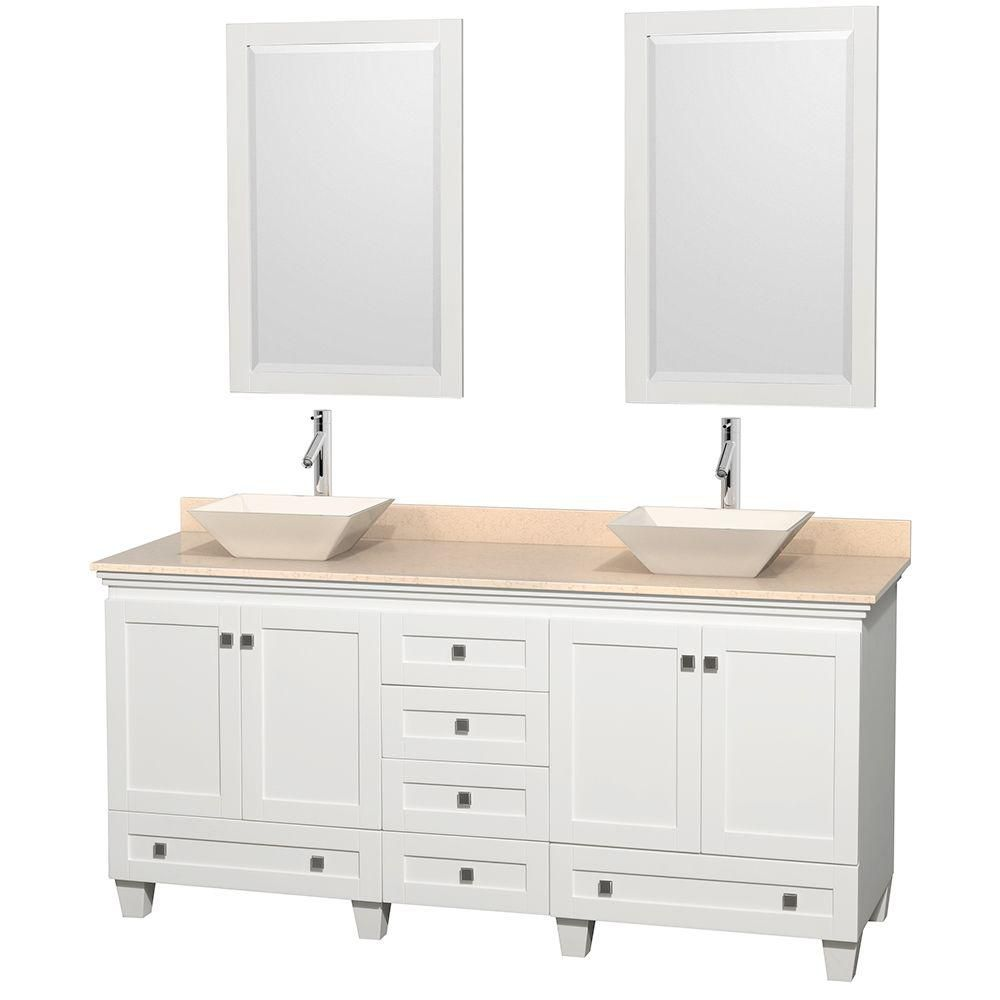 Acclaim 72-inch W Double Vanity in White with Marble Top in Ivory with Bone Basins and Mirrors