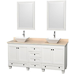 Wyndham Collection Acclaim 72-inch W 6-Drawer 4-Door Vanity in White With Marble Top in Beige Tan, Double Basins