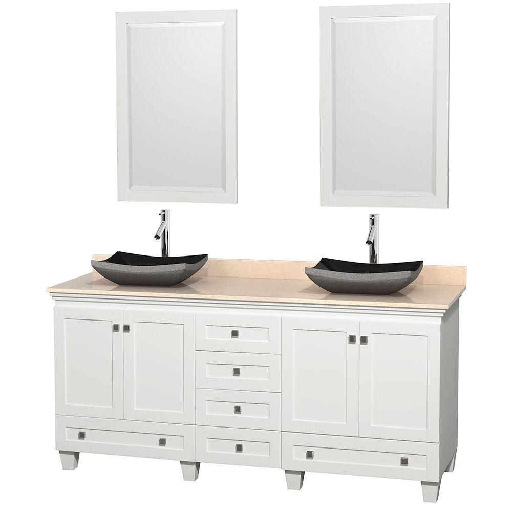 Acclaim 72-inch W Double Vanity in White with Marble Top in Ivory with Black Basins and Mirrors