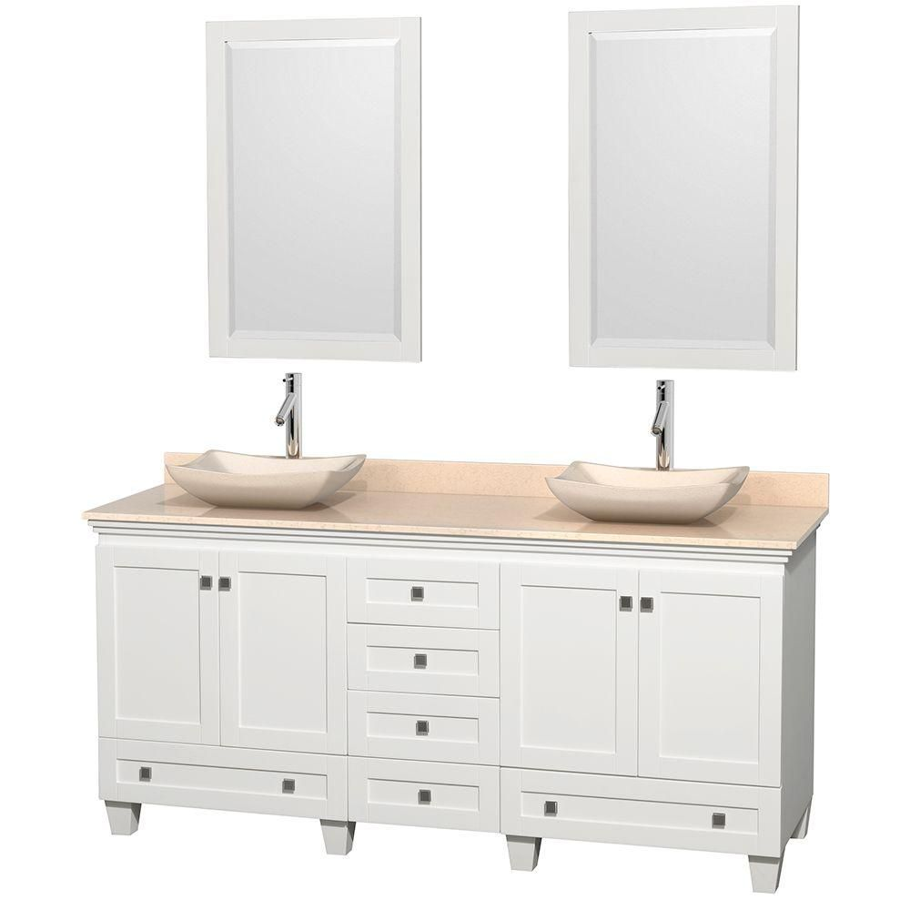 Acclaim 72-inch W Double Vanity in White with Marble Top in Ivory with Ivory Basins and Mirrors