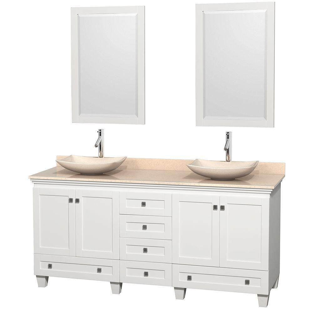 Acclaim 72-inch W 6-Drawer 4-Door Vanity in White With Marble Top in Beige Tan, Double Basins
