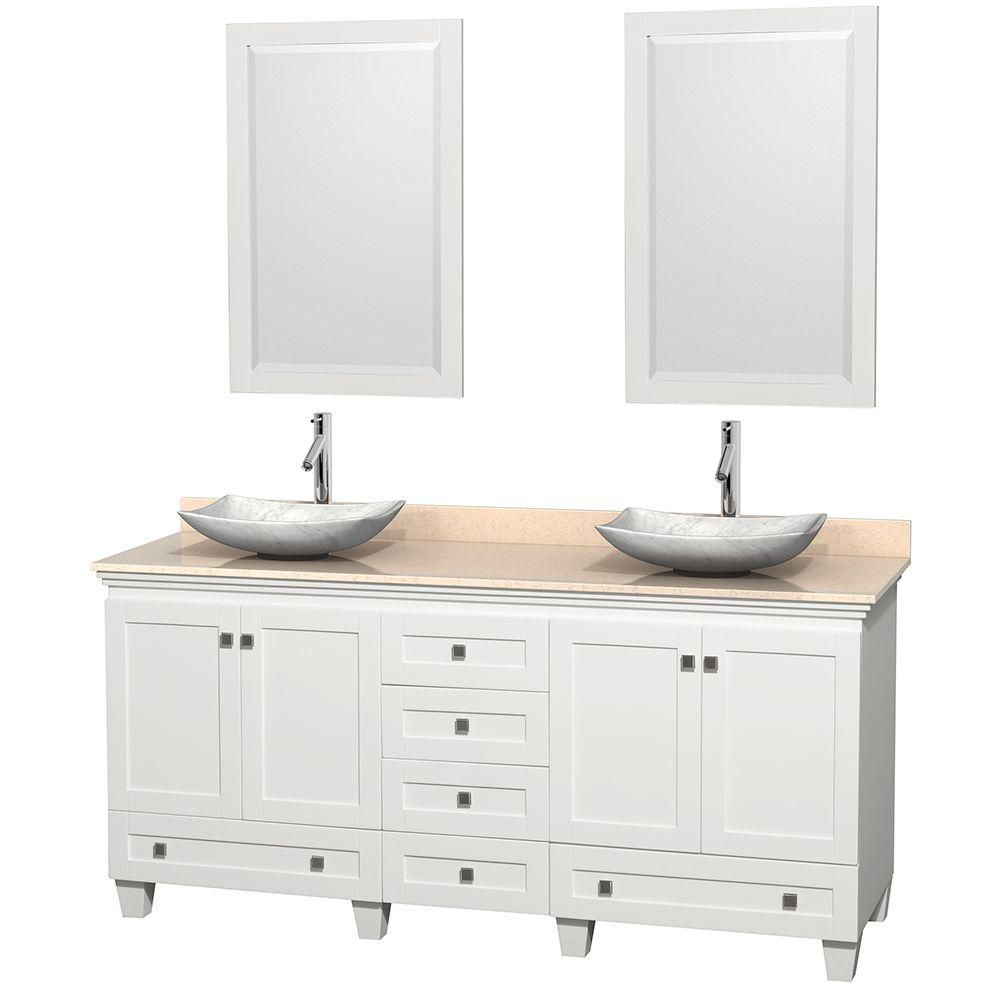 Acclaim 72-inch W Double Vanity in White with Marble Top in Ivory with White Basins and Mirrors