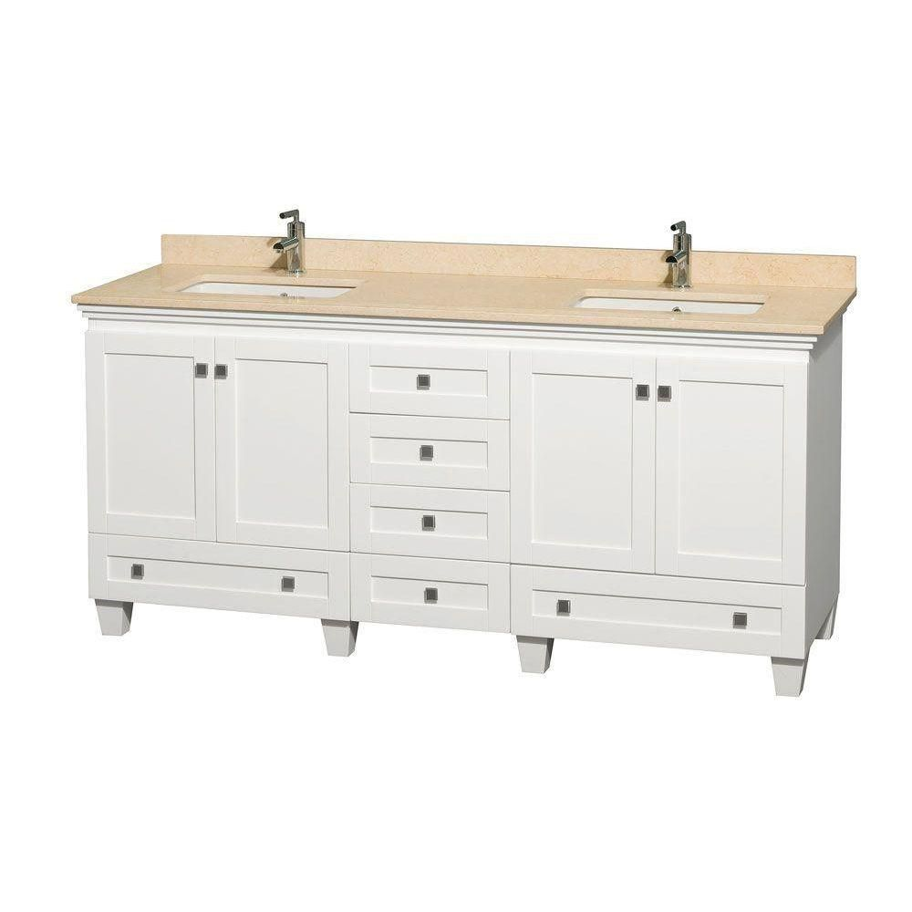 Acclaim 72-inch W Double Vanity in White with Marble Top in Ivory with Square Basins