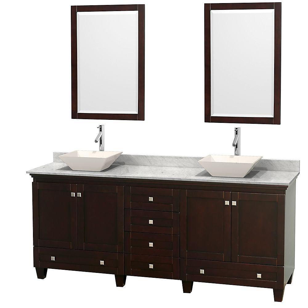 Acclaim 80 po Meuble dbl. espresso et revêtement blanc Carrare, éviers couleur os et miroirs