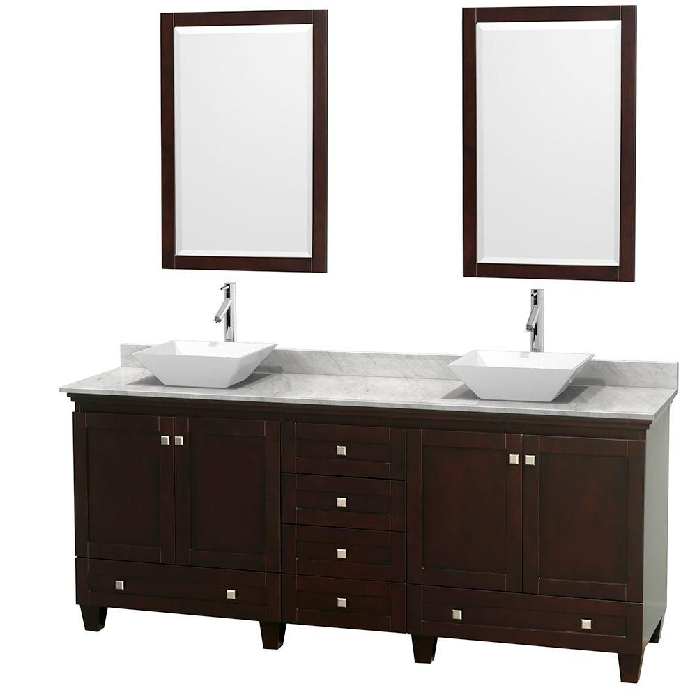 Acclaim 80-inch W 6-Drawer 4-Door Vanity in Brown With Marble Top in White, 2 Basins With Mirror