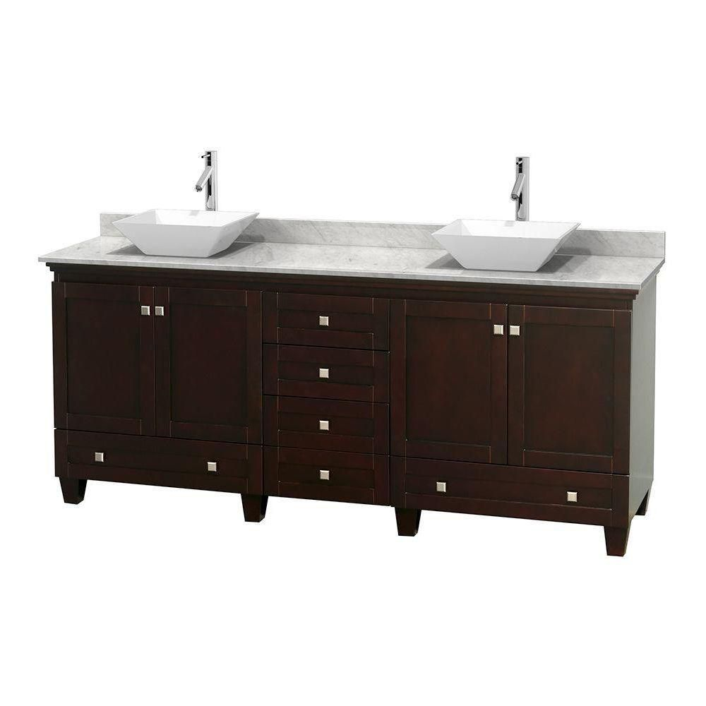 Acclaim 80-inch W Double Vanity in Espresso with White Top with White Basins