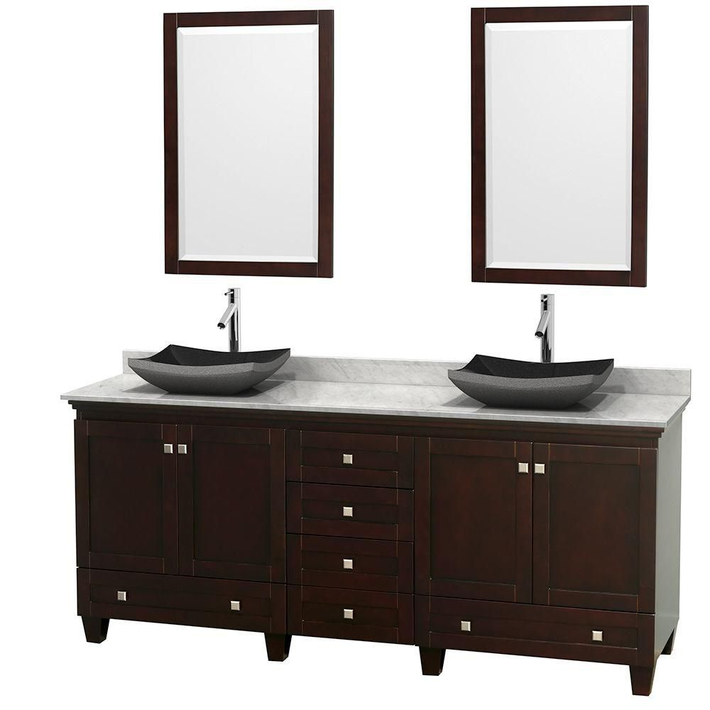 Acclaim 80-inch W Double Vanity in Espresso with White Top with Black Basins and Mirrors