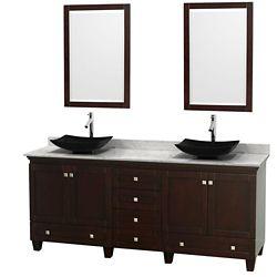 Wyndham Collection Acclaim 80 po Meuble double espresso avec revêtement blanc Carrare, éviers noirs et miroirs