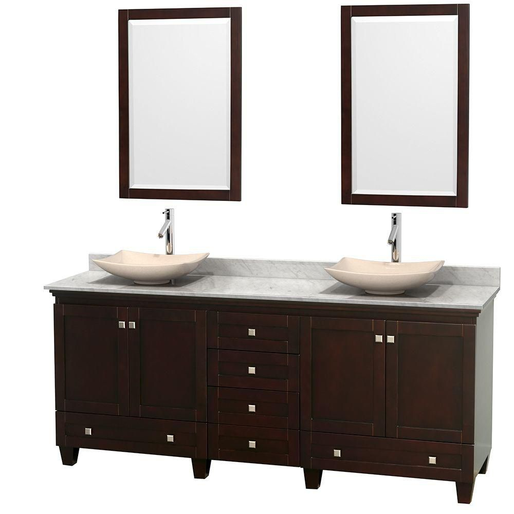 Acclaim 80-inch W Double Vanity in Espresso with White Top with Ivory Basins and Mirrors