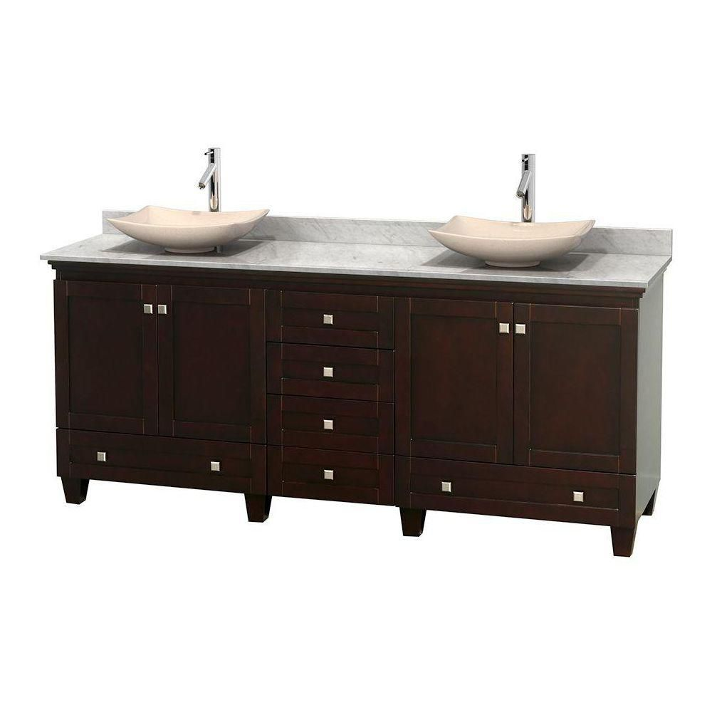 Acclaim 80-inch W Double Vanity in Espresso with White Top with Ivory Basins