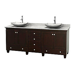 Wyndham Collection Acclaim 80-inch W 6-Drawer 4-Door Vanity in Brown With Marble Top in White, Double Basins
