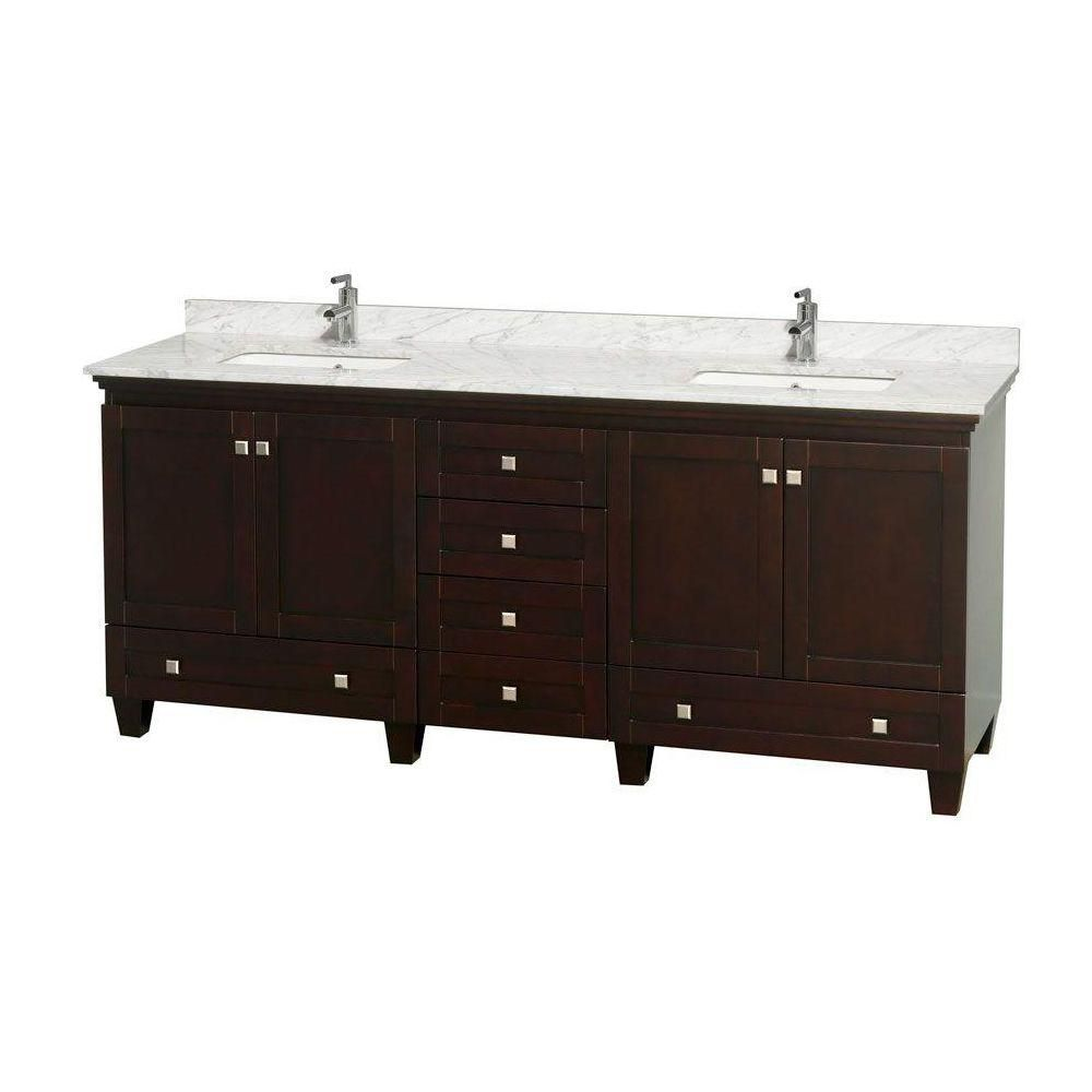 Acclaim 80-inch W Double Vanity in Espresso with White Top with Square Basins