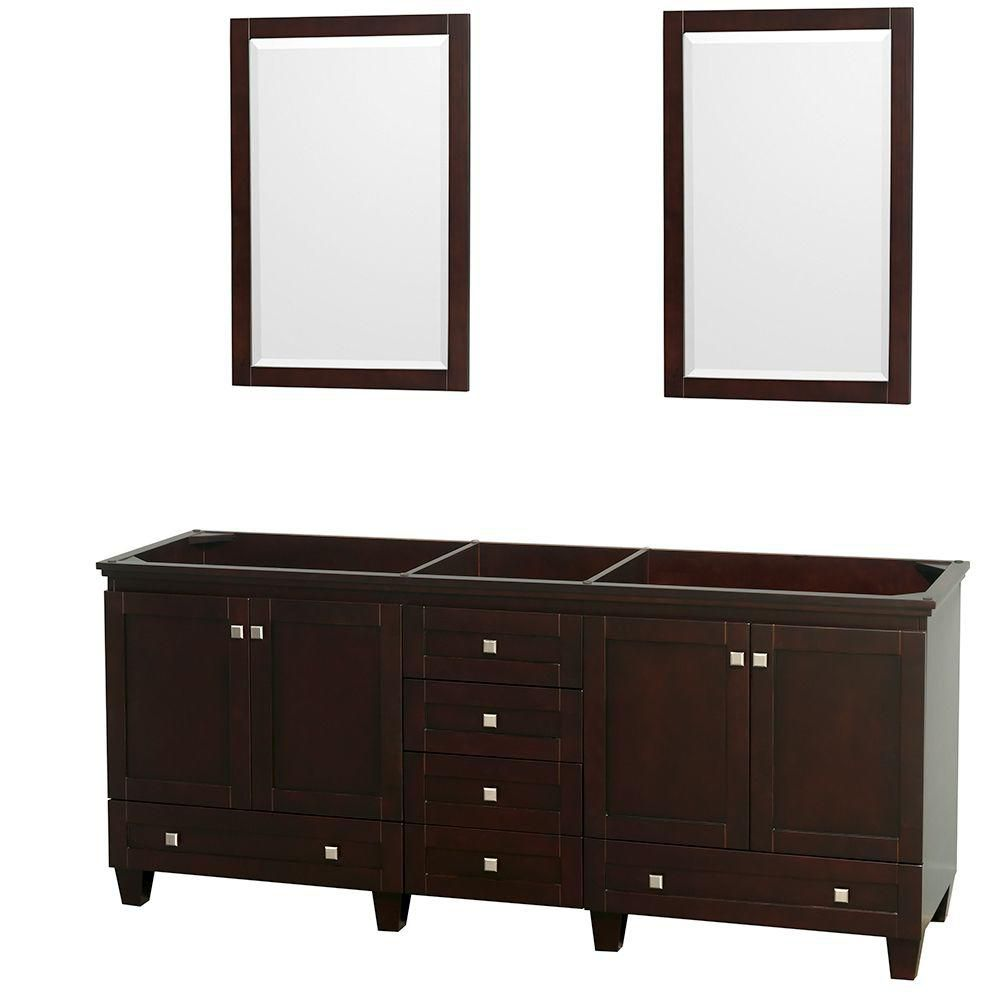 Acclaim 80-inch W Double Vanity in Espresso with Mirrors