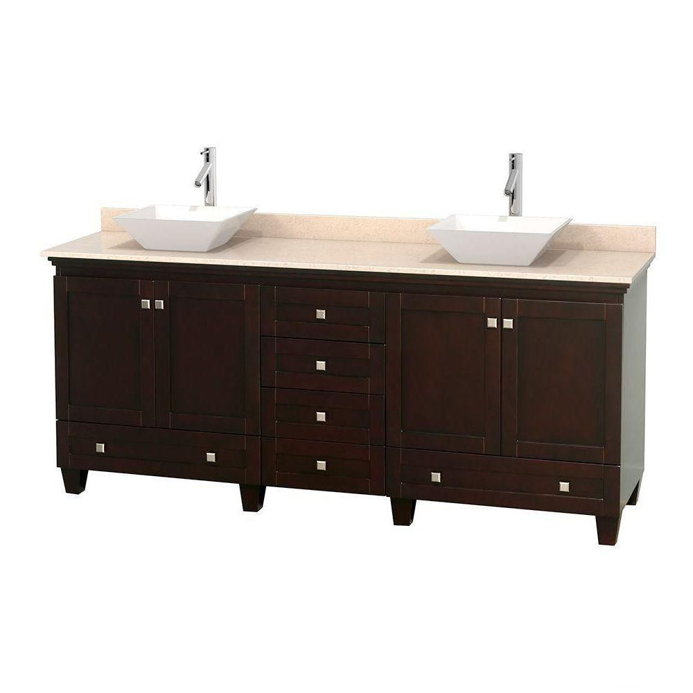 Acclaim 80-inch W Double Vanity in Espresso with Marble Top in Ivory with White Basins