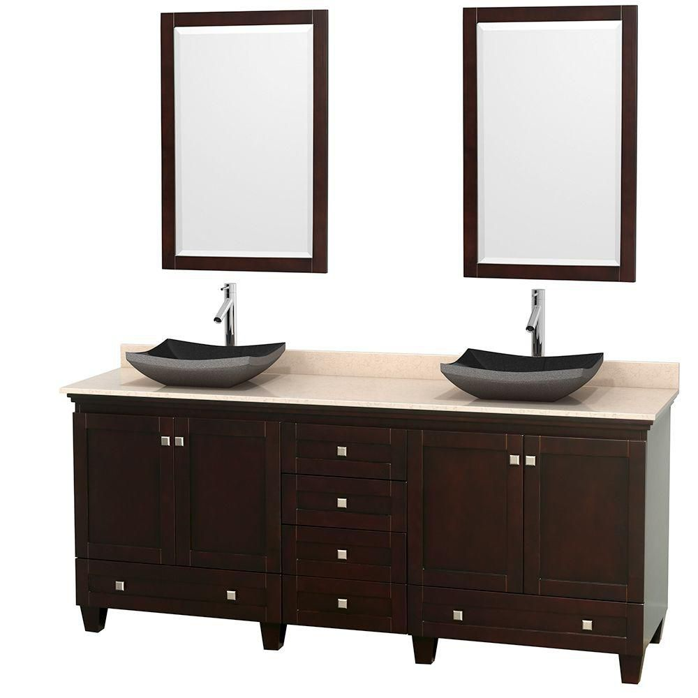 Acclaim 80-inch W Double Vanity in Espresso with Marble Top in Ivory with Black Basins and Mirror...