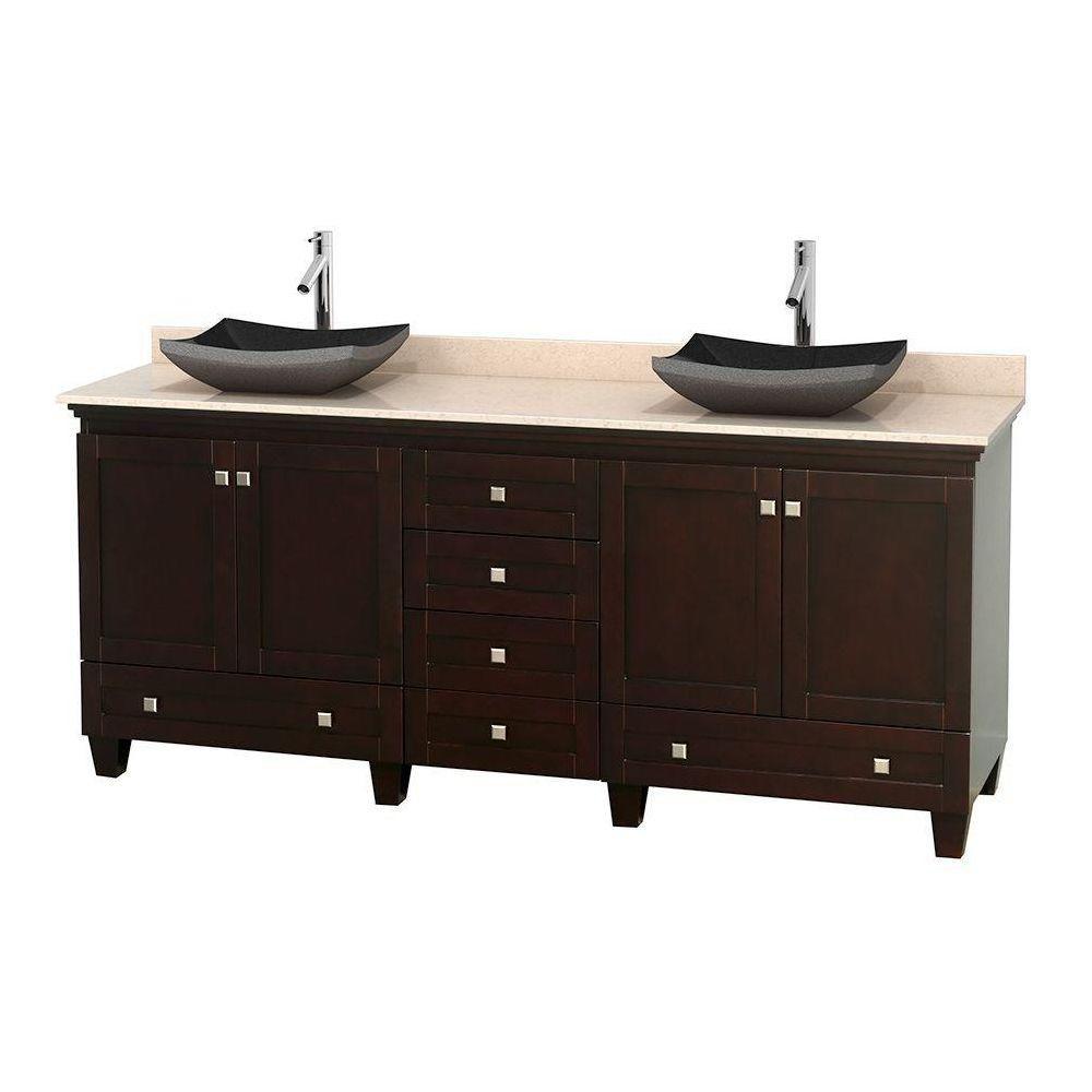 Acclaim 80 po Meuble dbl. espresso et revêtement ivoire, éviers noirs et sans miroir