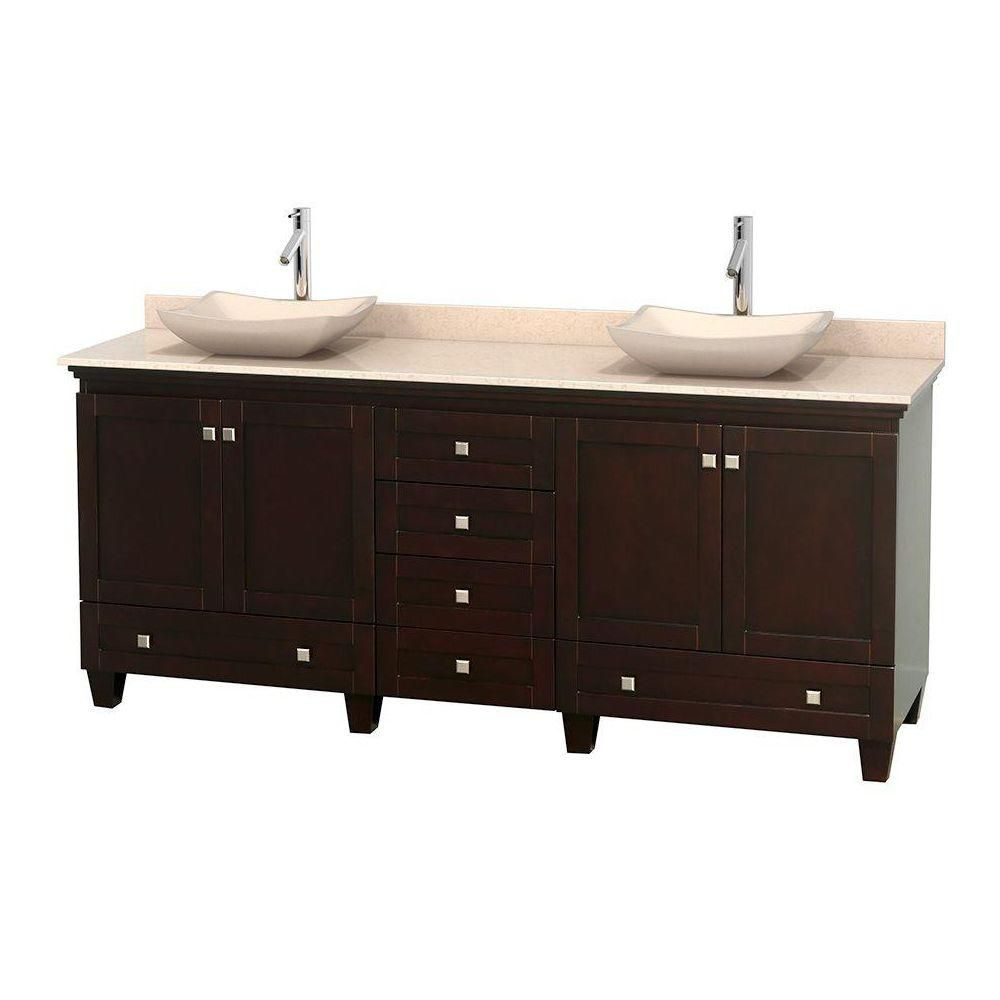 Acclaim 80-inch W Double Vanity in Espresso with Marble Top in Ivory with Ivory Basins