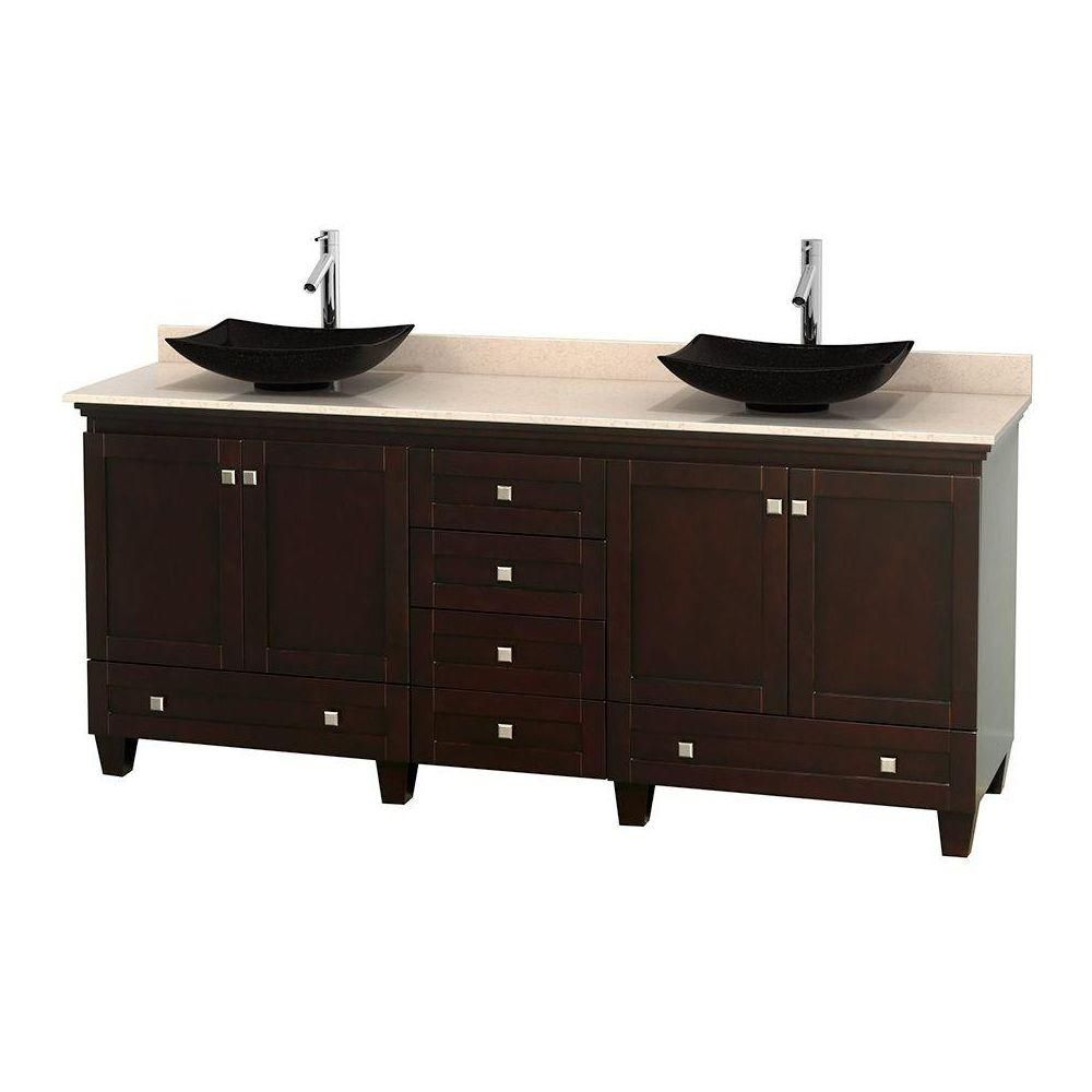 Acclaim 80-inch W Double Vanity in Espresso with Marble Top in Ivory with Black Basins