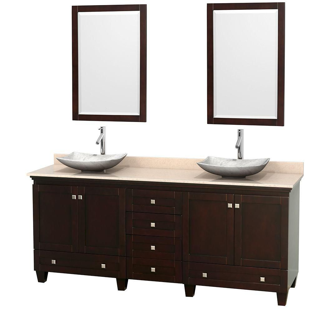 Acclaim 80-inch W Double Vanity in Espresso with Marble Top in Ivory with White Basins and Mirror...