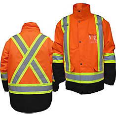 HIGH Viz Parka 5 In 1 Orange 2XLarge
