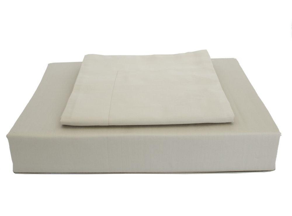 Maholi 250TC Solid Duvet Cover Set, Taupe, Queen