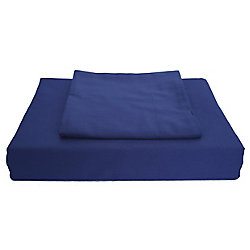 Maholi 250TC Solid Duvet Cover Set, Navy, Double