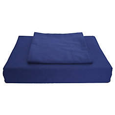 250TC Solid Duvet Cover Set, Navy, Double