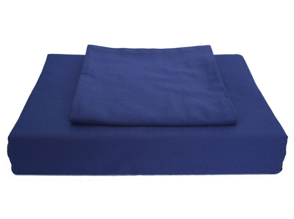 250TC Solid Duvet Cover Set, Navy, Double