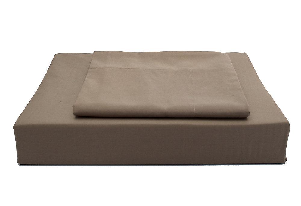 250 fils au pouce, Solide - Ensemble de housse de couette, Chocolat, grand lit