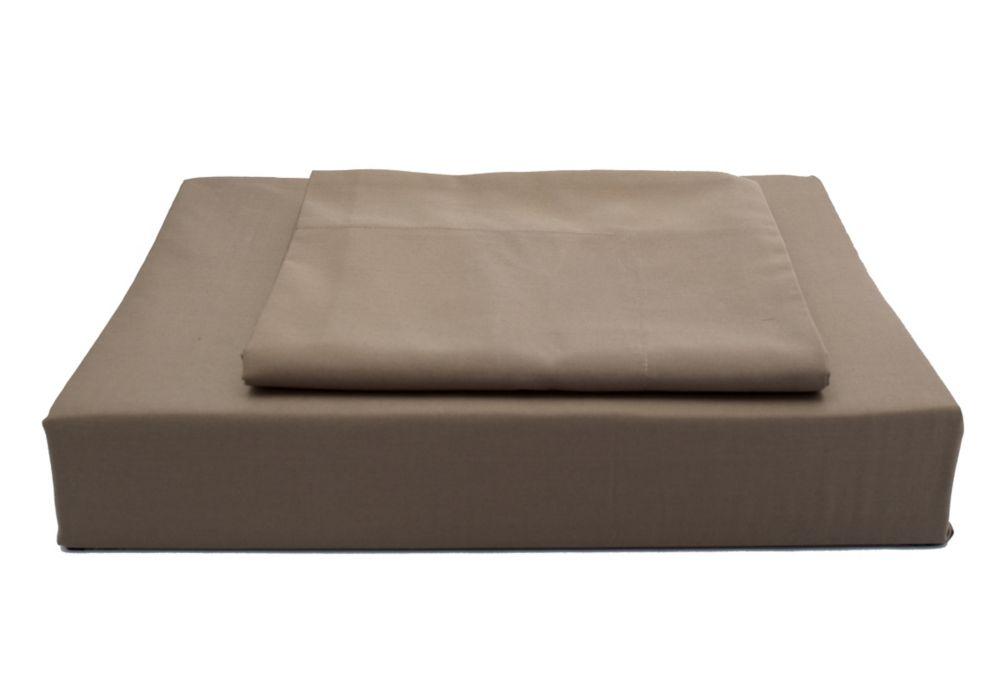 250 fils au pouce, Solide - Ensemble de housse de couette, Chocolat, très grand lit