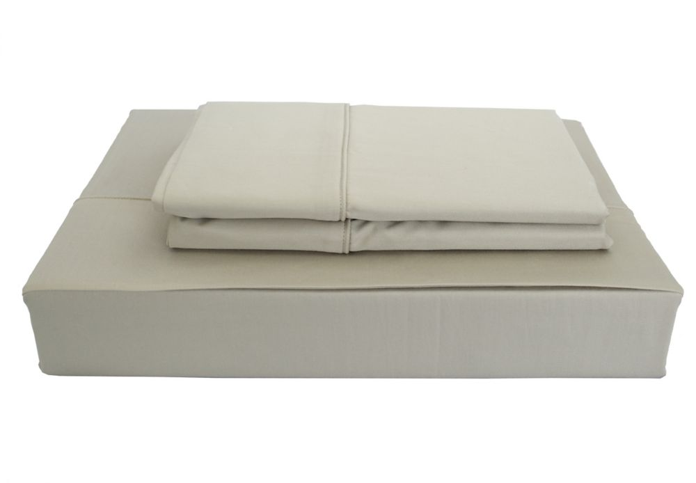 Maholi 250TC Solid Sheet Set, Taupe, Queen