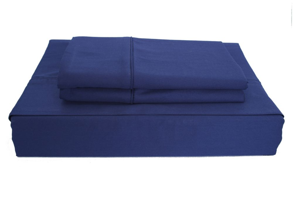 250TC Solid Sheet Set, Navy, Double
