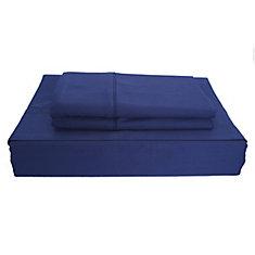 250 fils au pouce, Solide - Ensemble de draps, Bleu marin, grand lit