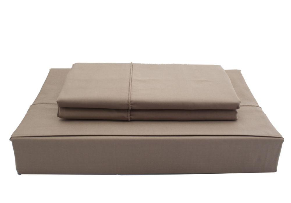 Maholi 250TC Solid Sheet Set, Chocolate, Double