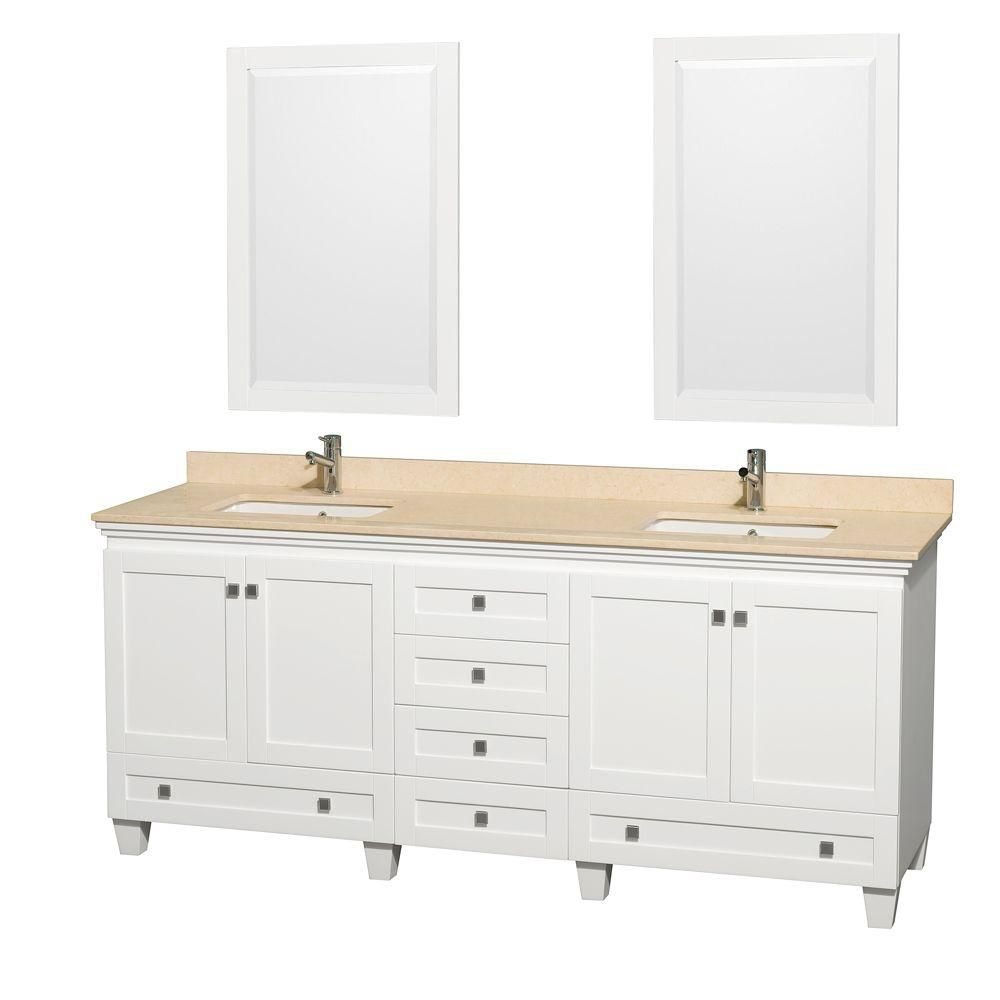 Acclaim 80-inch W Double Vanity in White with Marble Top in Ivory with Square Basins and Mirrors